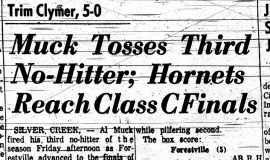 Muck Tosses Third No-Hitter; Hornets Reach Class C Finals. June 10, 1961.