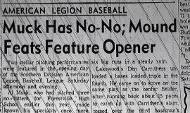 Muck Has No-No; Mound Feats Feature Opener. June 26, 1961.