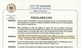 Al Stuhlmiller Day proclamation by the City of Dunkirk. January 31, 2013.