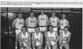 1966 Dunkirk High School faculty basketball team. Al Stuhlmiller kneeling far left.