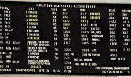 Jamestown High School pool record board.
