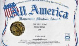 50 Yard Freestyle All America Award. 1986.