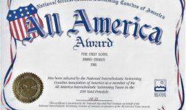 100 Yard Freestyle All America Award. 1986.