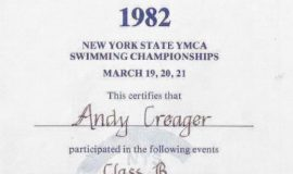 State YMCA Championships award. 1982.