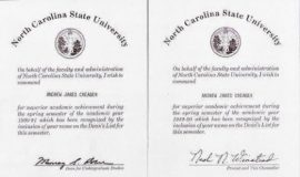 North Carolina State academic achievement commendations.