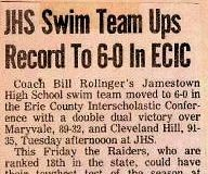 JHS Swim Team Ups Record to 6-0 In ECIC. January 11, 1983.