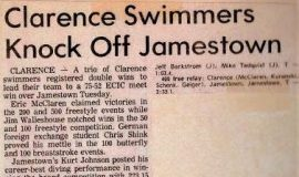 Clarence Swimmers Knock Off Jamestown. January 18, 1983.
