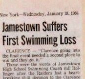 Jamestown Suffers First Swimming Loss. January 18, 1984.