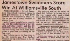 Jamestown Swimmers Score Win At Williamsville South. January 21, 1983.