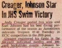 Creager, Johnson Star In JHS Swim Victory.  January 25, 1983.