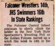 Falconer Wrestlers 14th, JHS Swimers 16th In State Rankings. January 28, 1983.