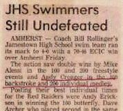 JHS Swimmers Still Undefeated. January 9, 1983.