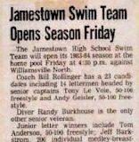 Jamestown Swim Team Opens Season Friday. 1984.