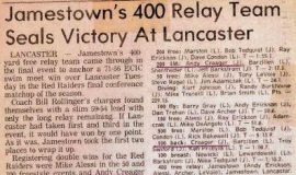 Jamestown's 400 Relay Team Seals Victory At Lancaster.  February 15, 1983.