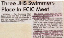 Three JHS Swimmers Place In ECIC Meet.  February 25, 1983.