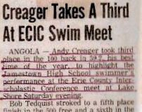 Creager Takes A Third At ECIC Swim Meet.  February 26, 1983.