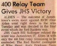 400 Relay Team Gives JHS Victory. February 9, 1983.