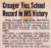 Creager Ties School Record In JHS Victory.