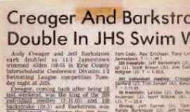 Creager And Barkstrom Double In JHS  Swim Win.