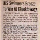 JHS Swimmers Breeze To Win At Cheektowaga.