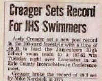 Creager Sets Record For JHS Swimmers.