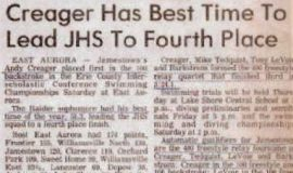 Creager Has Best Time To Lead JHS To Fourth Place.