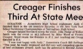 Creager Finishes Third At State Meet.