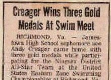 Creager Wins Three Gold Medals At Swim Meet.