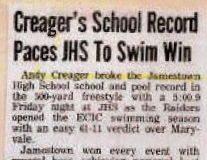Creager's School Record Paces JHS To Swim Win.
