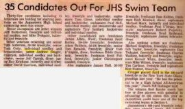 35 Candidates Out For JHS Swim Team.