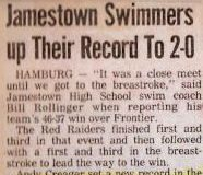 Jamestown Swimmers up Their Record To 2-0.