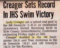 Creager Sets Record In JHS Swim Victory.