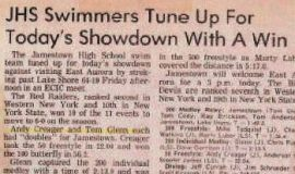JHS Swimmers Tune Up For Today's Showdown With A Win.