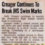 Creager Continues To Break JHS Swim Marks.