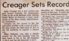 Creager Sets Record.