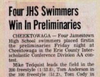 Four JHS Swimmers Win In Preliminaries.