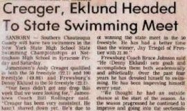 Creager, Eklund Headed To State Swimming Meet.