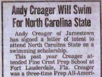 Andy Creager Will Swim For North Carolina State.