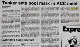 Tanker sets pool mark in ACC meet.