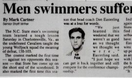 Men swimmers suffer first loss against Cavaliers.