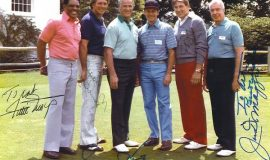 1982 golfing partners, Jamesburg, NJ. From left to right: Willie Mays, Brooks Robinson, Gordie Howe, Art Asquith, Johnny Unitas and Joe DiMaggio.