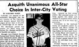Asquith Unanimous All-Star Choice In Inter-City Voting. 1959.