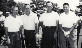 Left to right: Toby Lyons (Moon Brook pro), Arnold Palmer (professional golfer), Art Wall (professional golfer), Ben Bishop (Moon Brook club champion).