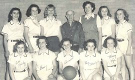 Betty Bartkowiak, front row, second from left, and the Frontier Blue Banners, 1948.