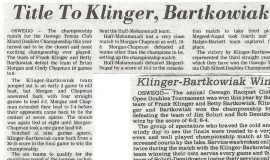 Title to Klinger, Bartkowiak. July 15, 1986