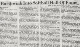 Bartowiak Into Softball Hall Of Fame. 1987.