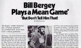Bill Bergey Plays a Mean Game. <em>Pro!<em>,  October 24, 1976. page 1.</em></em>