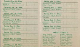 1940-41 Jamestown High School basketball schedule.