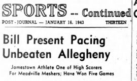 Bill Present Pacing Unbeaten Allegheny. January 16, 1943.