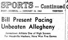 Bill Present Pacing Unbeaten Allegheny. January 16, 1943.